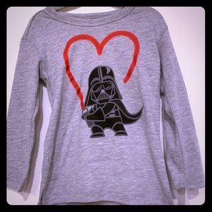 Darth Vader Heart Long Sleeved Star Wars Tee 2T